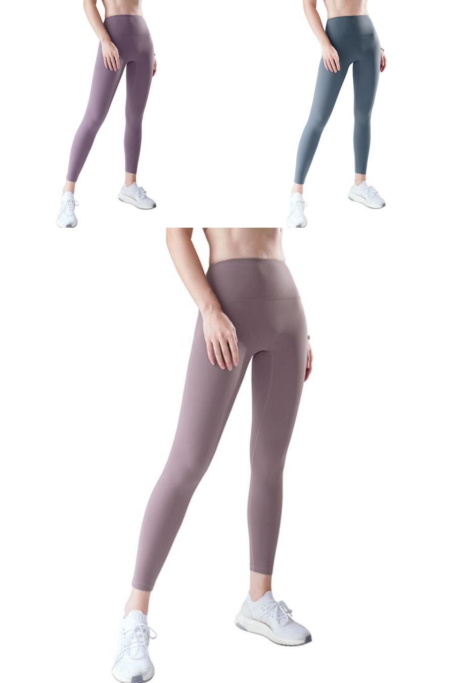 Para mujer pantalones de pierna ancha del color sólido de la cintura Igh para mujer pantalones casuales con el botón de algodón y lino Hembras pantalones # 180