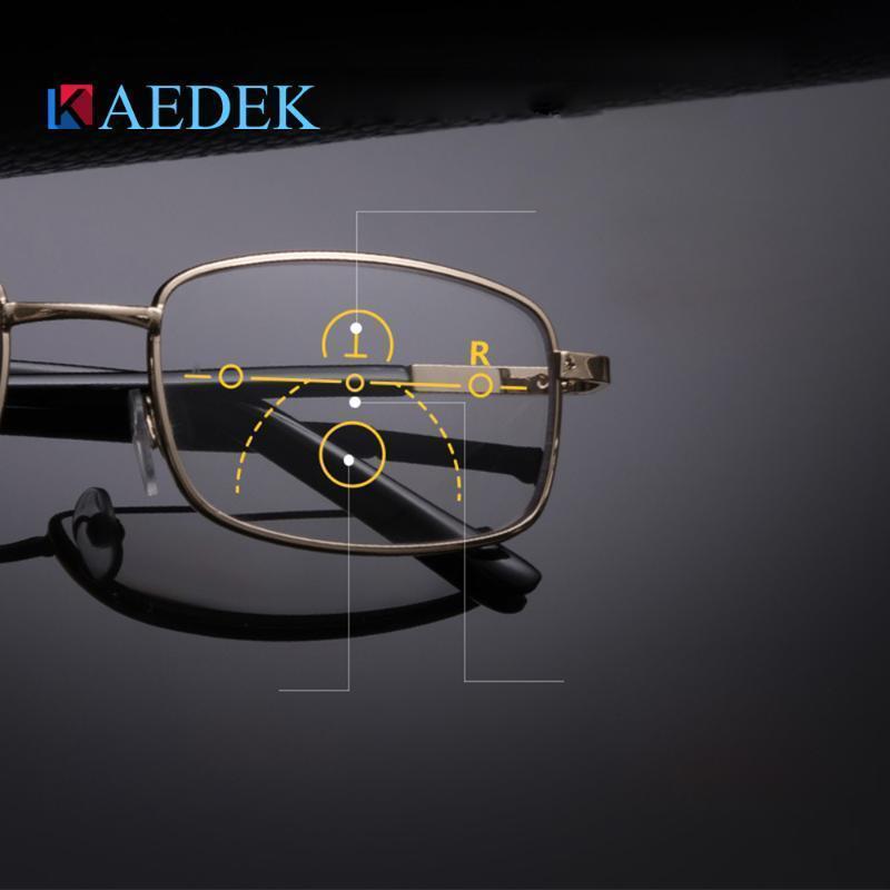 KAEDEK Titane Demi Cadre Métal progressif Lunettes de lecture Hommes multifocale Anti Bleu lunettes de presbyte alliage femmes Gafas