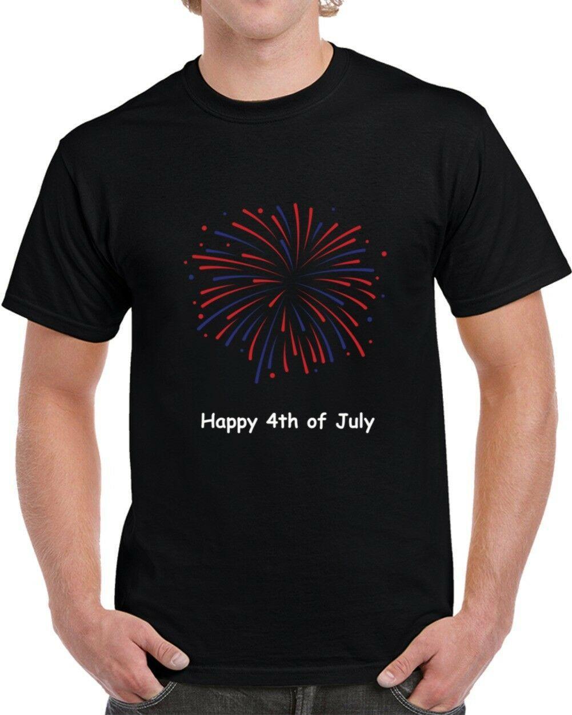 Новый мужской черный фейерверк T - Shirt День независимости США 4 июля SM- 5XL