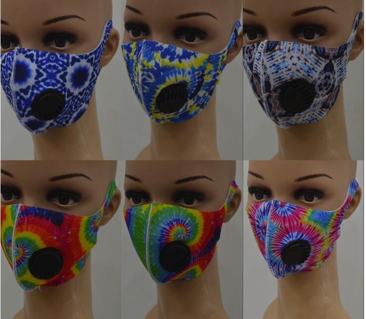 أقنعة الوجه مصمم الفم قناع التنفس مع صمام 3D طباعة أقنعة كامو ليوبارد الحرير الثلج الدراجات مكافحة الغبار يغطي الفم