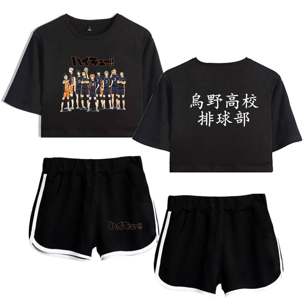 Japan Anime Haikyuu Karasuno High School Volleyball Club Women's Sets Summer Track Suit Women Two Piece Set Crop Top and Shorts cosplay
