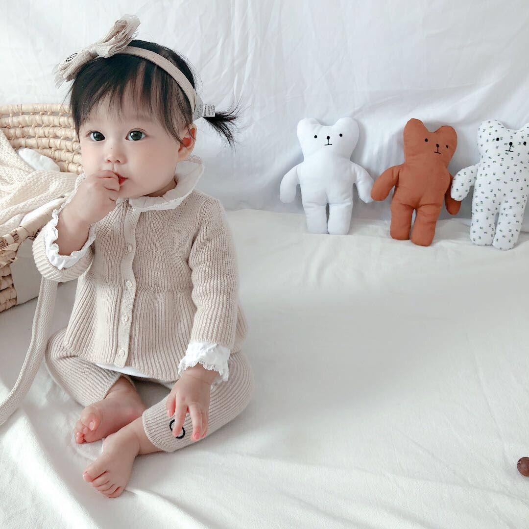 2020 Spring autumn cute children's long-sleeved sweater with shirt and trousers suit 3PCS Baby Girls Tops Pants Outfits