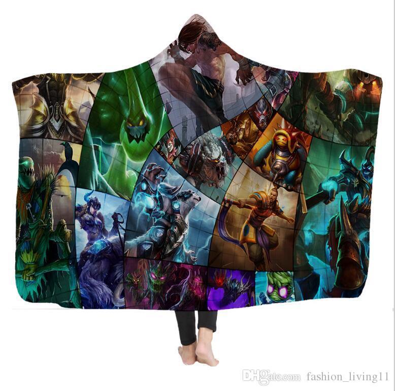 Игра Модель с капюшоном Одеяло плащ Siesta Wear 3D Printed Pattern Throw Одеяло в Cap Warm носимого руно Бросьте Одеяла H349 030
