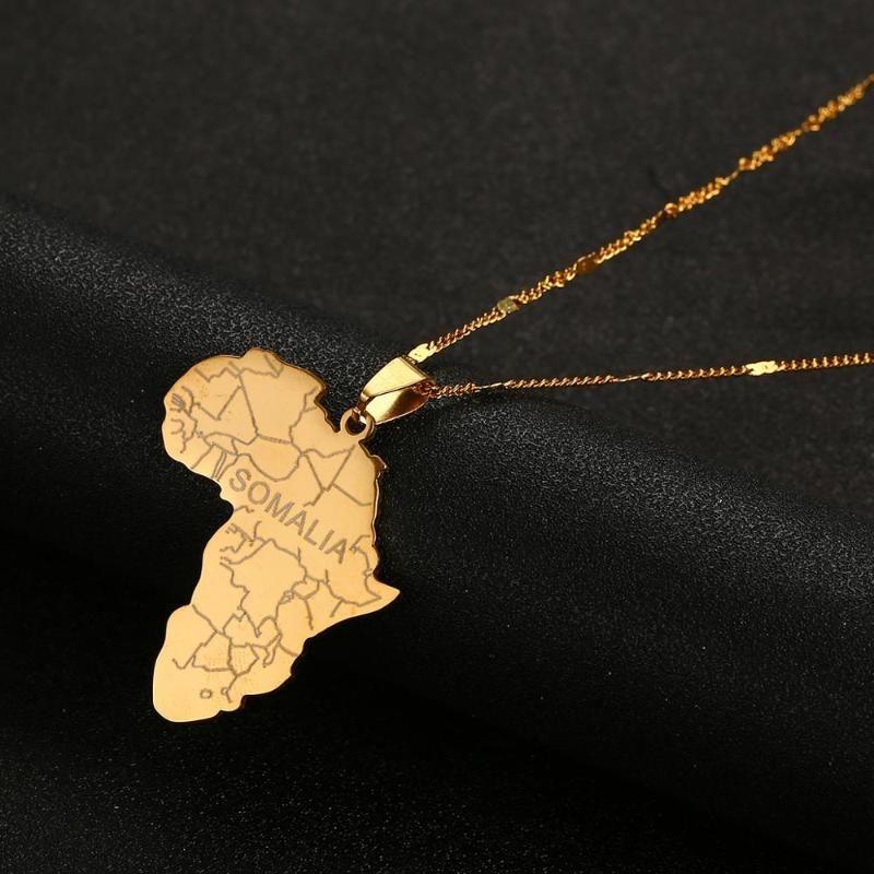 Mappe in acciaio inox Africa Map con la Somalia pendente colore dell'oro africano dei monili