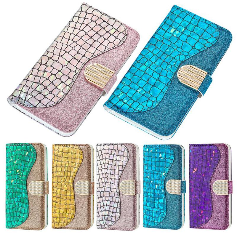 Bling Glitter Laser Hybrid Flip Leather Wallet Case For iPhone 11 Pro Max XS XR X 8 Samsung S10 Plus Note 10 S20 Ultra A51 A71 A01 A11 A21