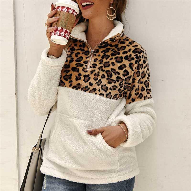Tops Mulheres Sweater Outono Inverno Leopard Impresso Polar Patchwork Fluffy Grosso aquecer camisolas Zipper pulôver Sherpa