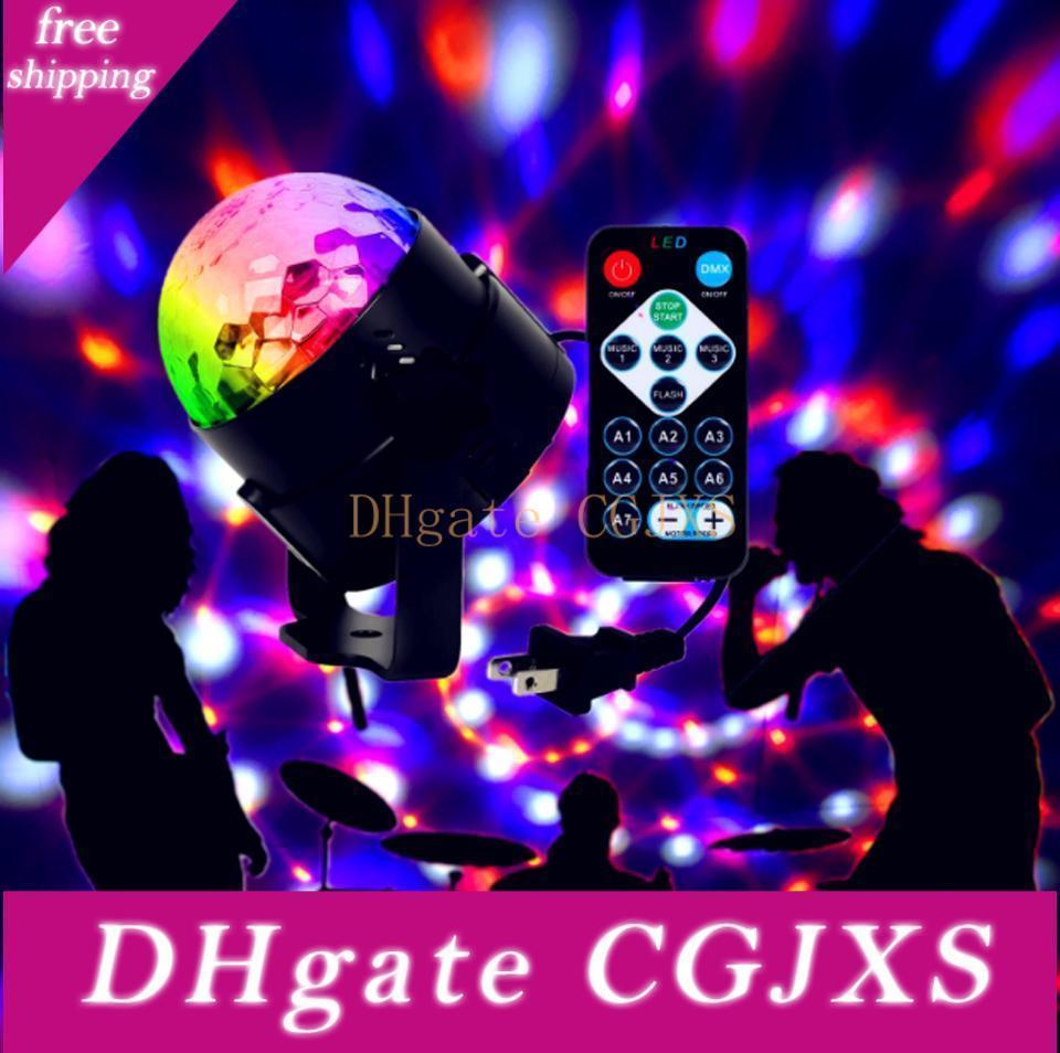Mini Rgb 6w Crystal Magic Ball Led Stage Lamp Dj Ktv Disco Laser Light Party Lights Sound Ir Remote Control Christmas Projector