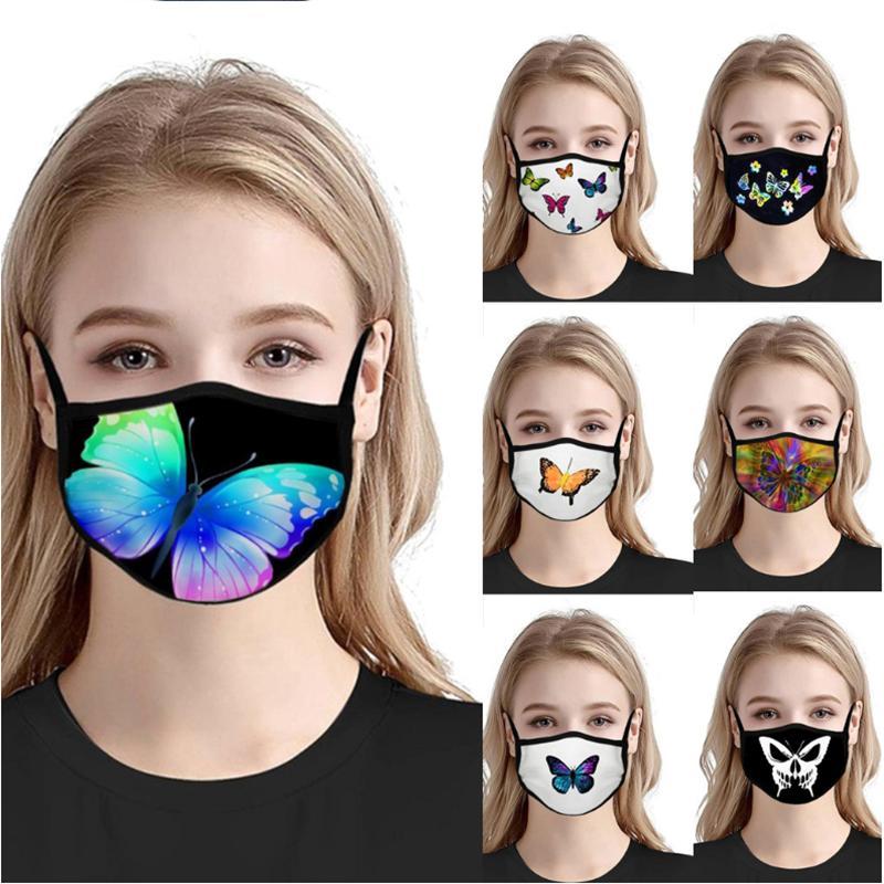 7 Styles Schmetterling Gesichtsmasken Frauen Sonnenschutz Staubdichtes waschbare Gesichtsmaske Wiederverwendbare Adult Mundmasken YYA185