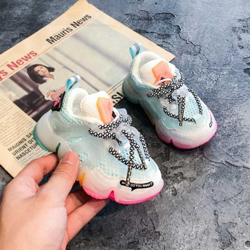2020 2020 Sonbahar Bebek Kız Erkek Ayakkabı Nefes Bebek Sneakers Moda Renk Eşleştirme Yumuşak Alt Toddler Walkers Ayakkabı 6JYO #