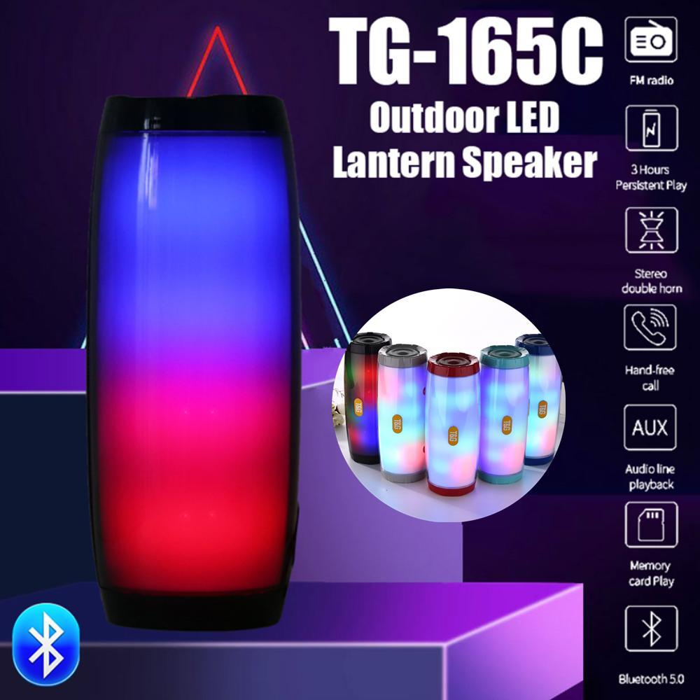 T&G Mini TG165 Portable Bluetooth Speaker Small TG165C Stereo Subwoofer LED Light Flash Wireless Outdoor Music Box Column FM Radio TF Card