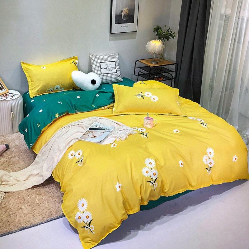 Желтые хризантемы Green B Side Пододеяльник Постельное белье Home Queen King Полный пододеяльник наволочки плоский лист постельных принадлежностей для мальчиков Поезд PDsd #
