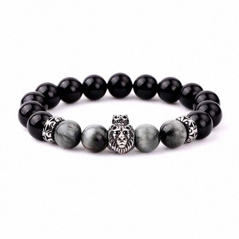 Neues einfaches Design Tier Edelstahl Wolf Löwe Buddha Anhänger Naturstein Adler Perlen elastische Armband Männer eful #