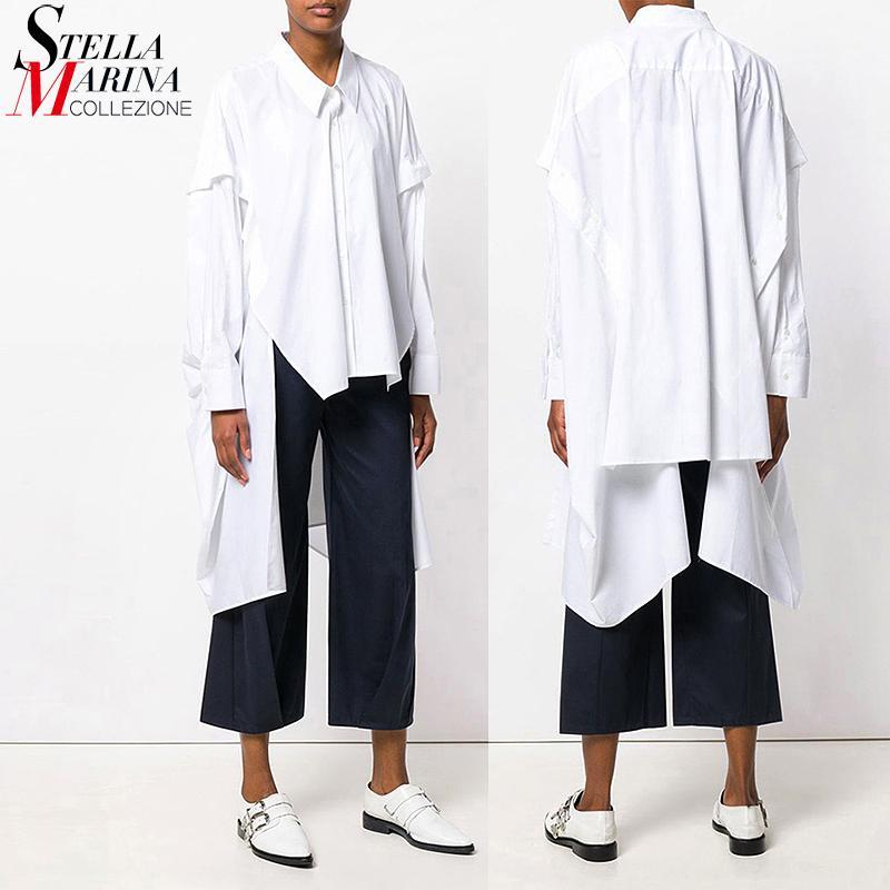 Nuevo 2020 verano de las mujeres Tops sólido Camisa Negro blusa blanca de manga larga más señoras del tamaño Femenino camisa camisola femme blusas 3665