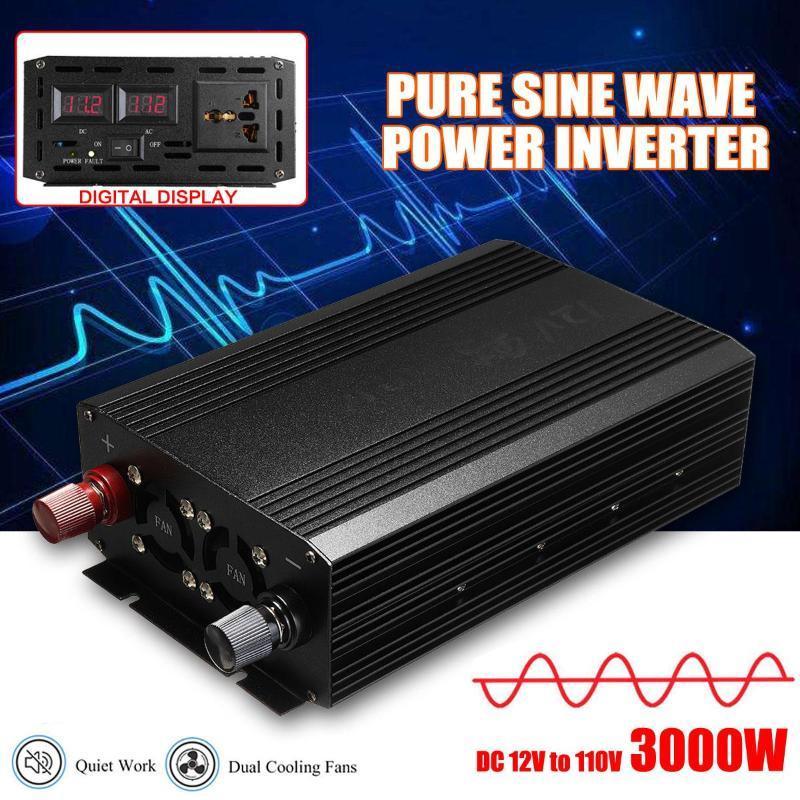 Car Power Inverter 3000W 12V DC ad AC 110V batteria del veicolo Converter Power Supply onda di seno pura On-Board Charger Interruttore