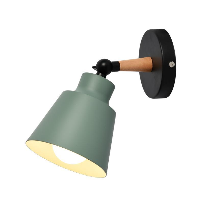 LED Nordic Wood Wall Lights Bedroom Beside Lights Macaroon Modern Wall Lamps LED E27 Restaurant Bar Lighting
