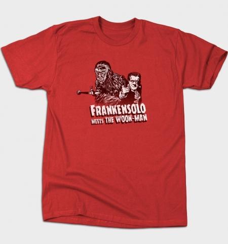 Homens Camiseta T-shirt Frankensolo encontra o Wook Man O-Neck manga curta Women T-shirt de algodão impressa