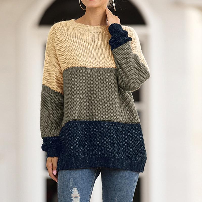 Tops manga larga de las mujeres suéteres de tejer un jersey de mujer raya Colorblock O-Cuello de géneros de punto Casual Otoño Invierno Jerseys