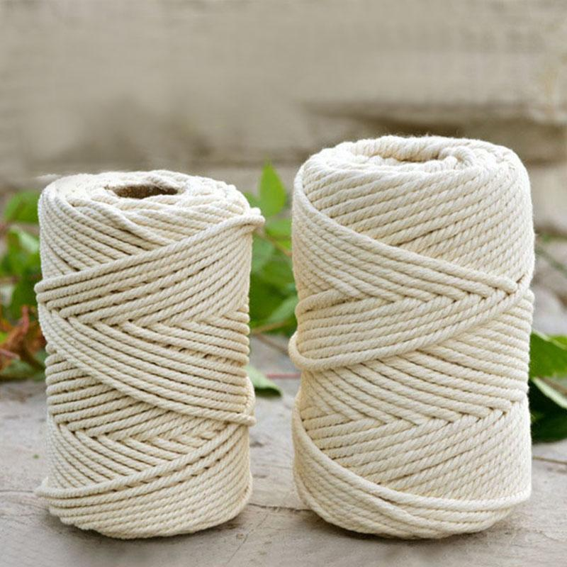 4-6mm 50M Beige Cotton Twisted Braided Cord Rope Craft Durable Macrame String DIY Handmade Home Decorative Textile Accessories