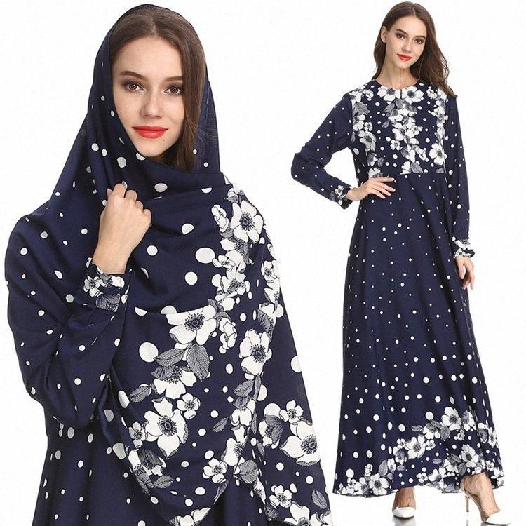 Elegante maxi vestito dalla stampa floreale Abaya Hijab Figura intera musulmana lunga veste abiti kimono Ramadan Medio Oriente arabo islamica Abbigliamento HJLs #