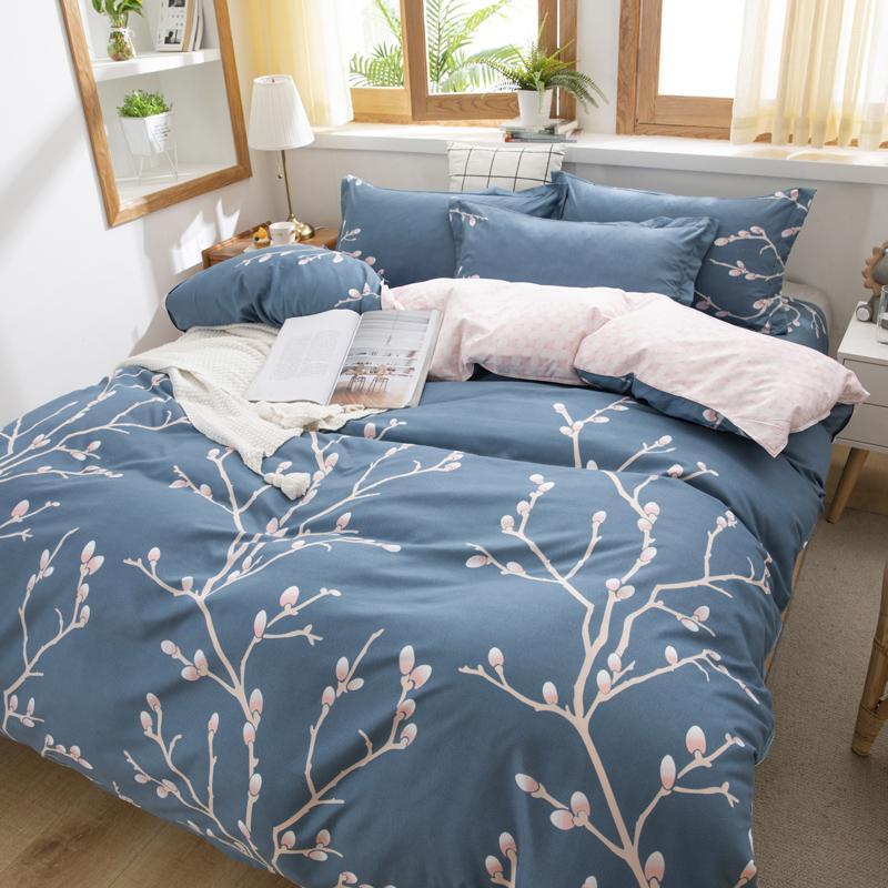 Simples edredon cobrir conjuntos de cama Set capa do edredon fronha azul Rei Rainha Double Single Full Size Bed Linens Home Textile