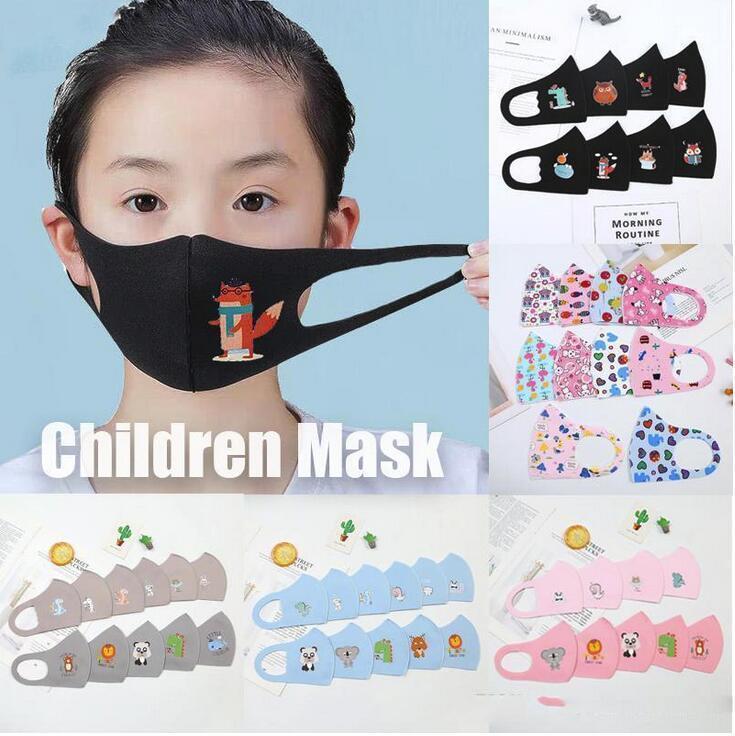 ¡VALORES! Diseñador de los niños de Estados Unidos contra la contaminación máscaras de dibujos animados de la boca de la mascarilla del Niños anti-polvo respirable Earloop reutilizable lavable de algodón
