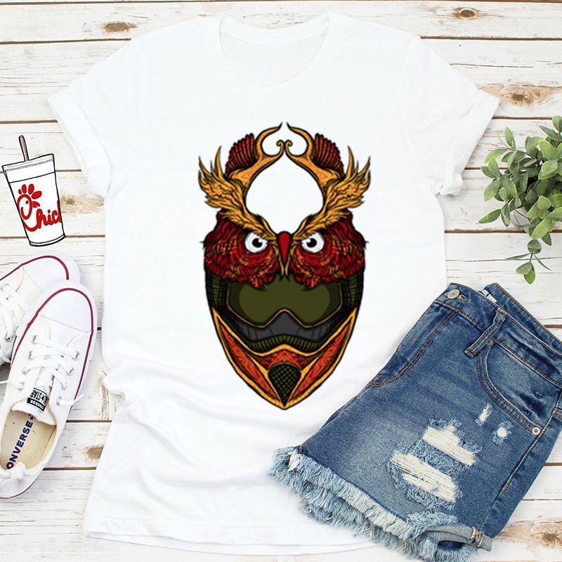 Dowlhill Owl Man Stampa maglietta Femmina Stile Hiphop unisex T T-shirt Sleevemt-shirt Streetwear Tops Harajuku