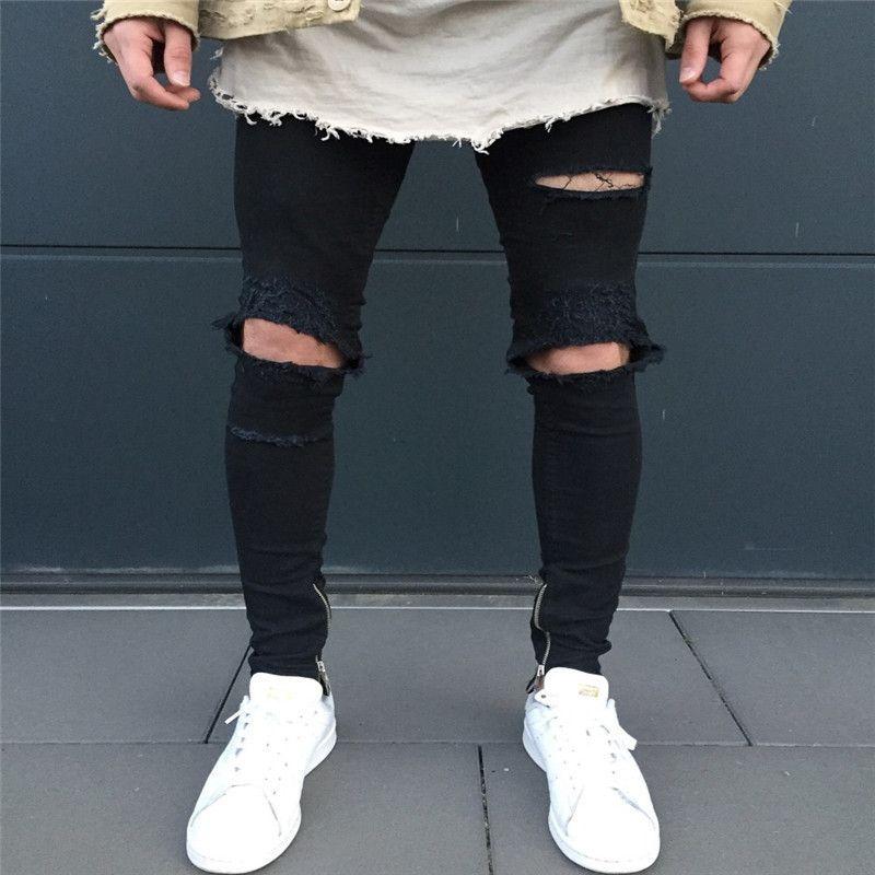 Venda Hot Jeans Men motocicleta Calças Moda Knee Fold Slim Fit Zipper Ripped Jeans Hip Hop Street Style