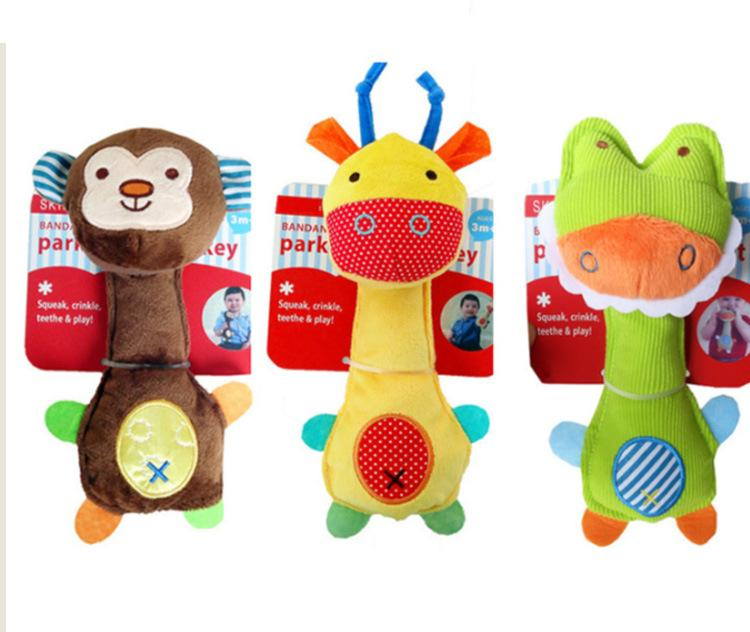 giocattolo sonaglio bastone bambino peluche presa giocattolo del fumetto di mano animale bastone peluche sonaglio all'ingrosso dispositivo di BB per bambini