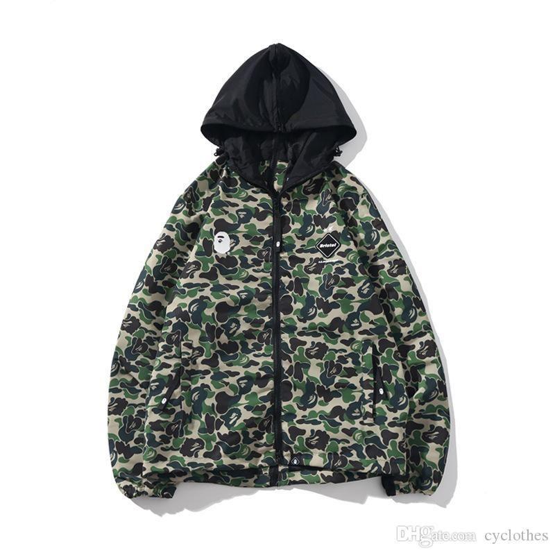 Autumn Men's Green camo Double Zipper Windbreaker Hooded Jacket Men Women Sport Hip Hop Black Jacket