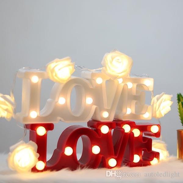 AMOUR en forme de soirée de mariage lumière LED nuit romantique Lampes Décoration murale blanc chaud Lampe de table Chambre LED Jouets Veilleuse