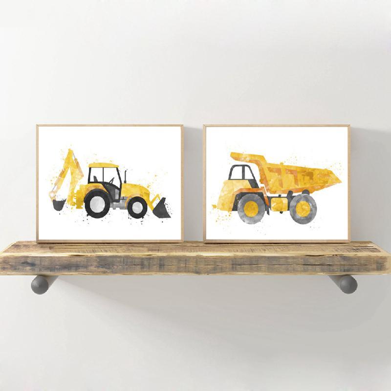 Aquarelle Pelle Art Peinture Photos Enfants Garçon mur Salle Décoration d'intérieur, construction camion à benne basculante Art Prints Bébés garçons Affiches Chambre