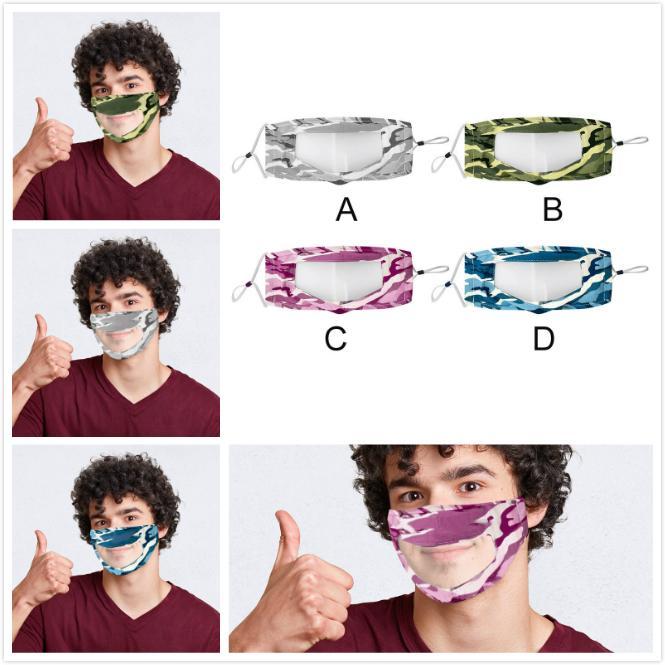 2020 DHL Прозрачная маска Камуфляж моющийся многоразовые Маски против пыли Антифог Clear Designer Face Mask 4 цвета партии Маски Boom2016