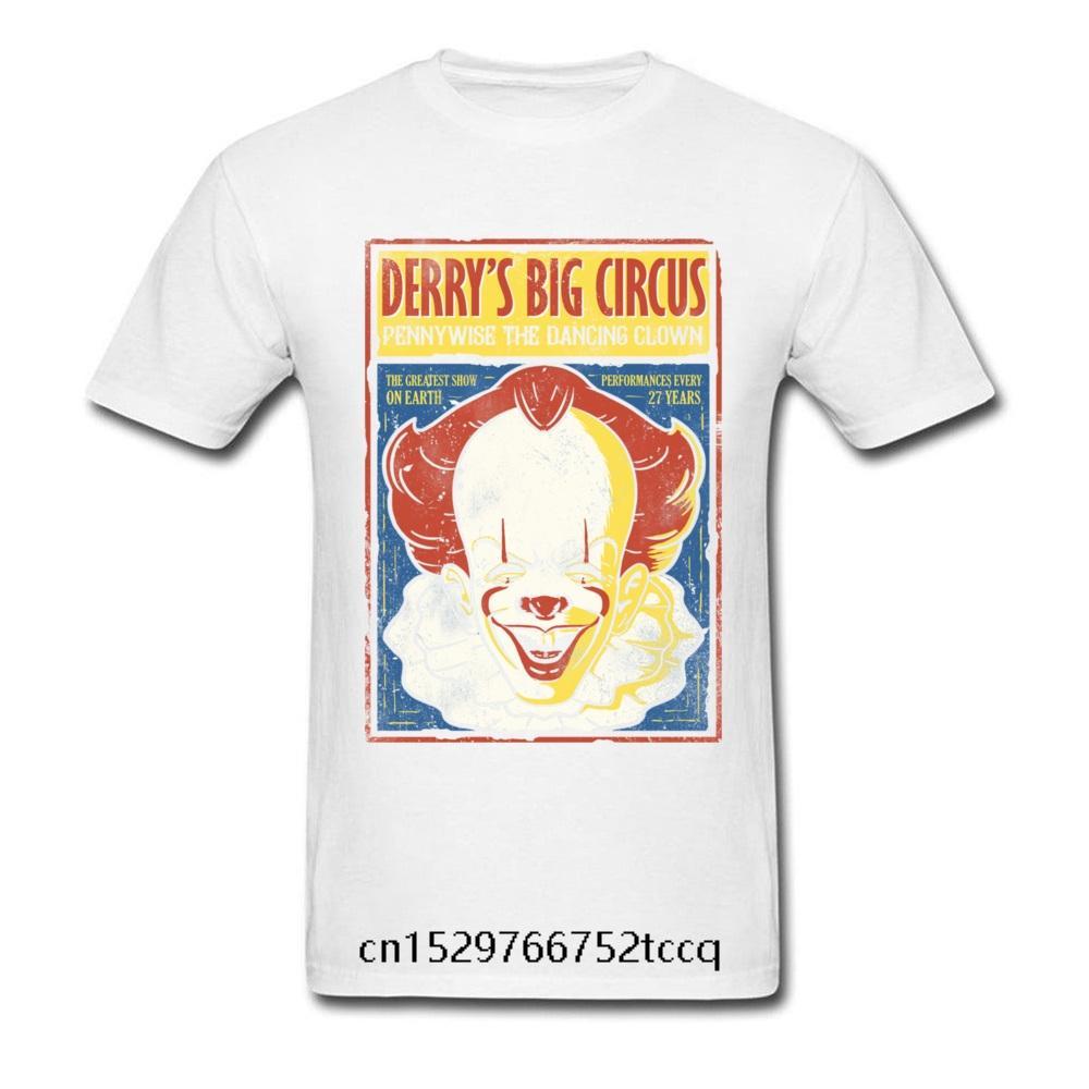 camiseta para los hombres Derrys gran circo del payaso de la vendimia Impreso Algodón cartel Moda Hombres manga corta camiseta