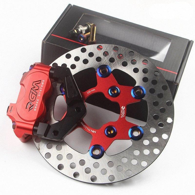 Étrier de frein Scooter moto + 200mm / 220mm Pompe de frein à disque Adaptateur Support + Disque de frein avant modification de l'absorbeur KGxr #