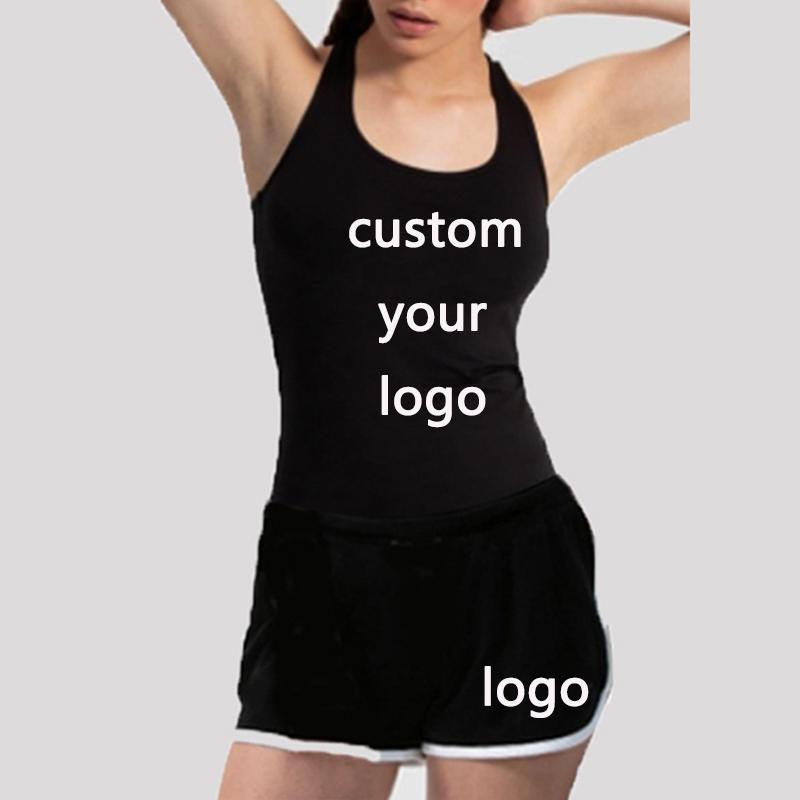 Été Femmes manches solides Débardeur Gilet + Shorts Set Jogger Casual 2 Piece Set Femme Survêtement tenue personnalisée Votre logo