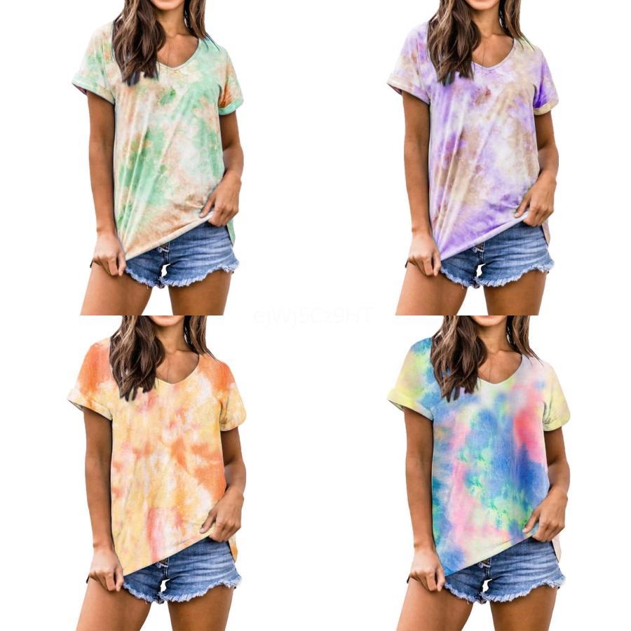 Frühling Sommer 2020 Frauen neuer Rundhals Kurzarm Fashion Trend Graffiti Baumwoll-T-Shirt Schwarzweiß-2 Farben-freies Verschiffen # 838