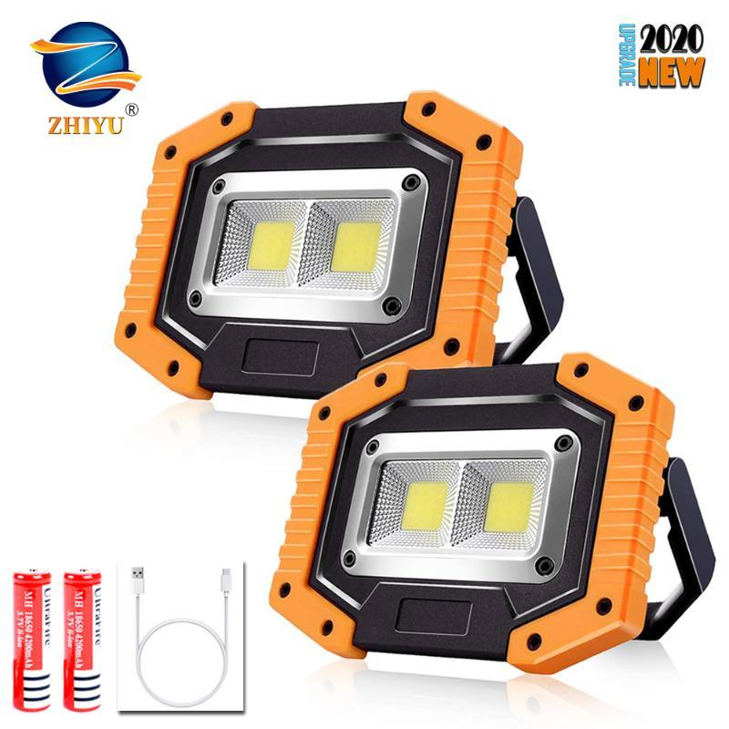 Portable LED Work Lights,ZHIYU Rechargeable COB Work Light Waterproof LED Flood Light with Stand Built-in Power Bank Site