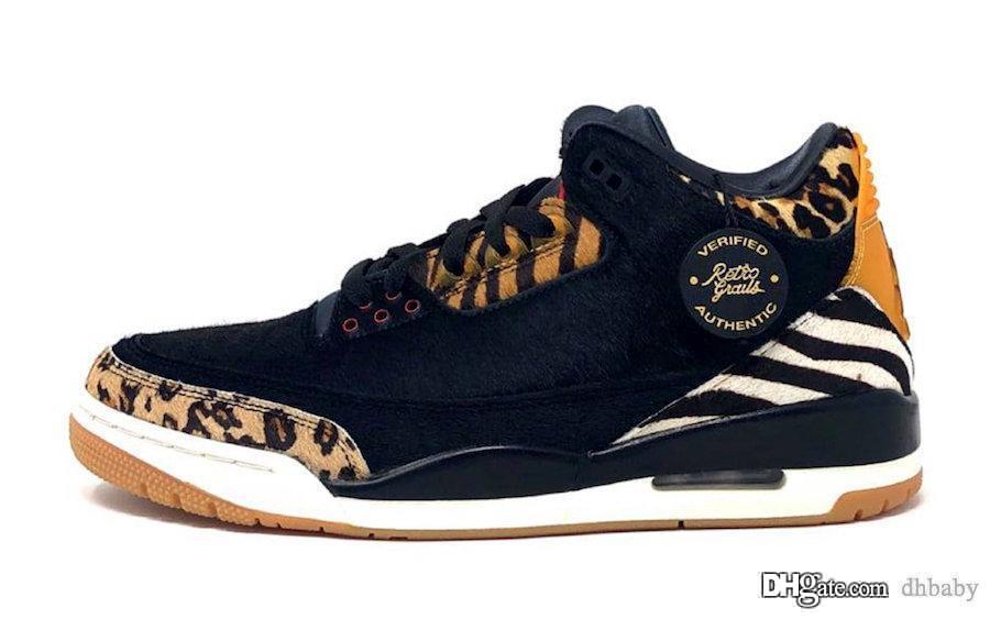 Nuovi pattini Air Authentic 3 SE animale nero di pallacanestro degli uomini scuro Mocha-corda-multicolore Retro Sport Sneakers CK4344-002 con la scatola