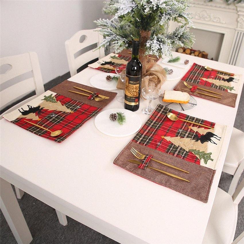 Таблица Место Mat Elk дерево Таблицы Обложка Новогодние украшения для дома Теплоизоляция кухня Питание колодки Navidad Orjb #