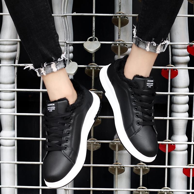 Deportes tendencia de los hombres de los zapatos corrientes calientes del invierno con cordones de zapatos para caminar al aire libre unisex cómodo zapatillas de deporte de los hombres de