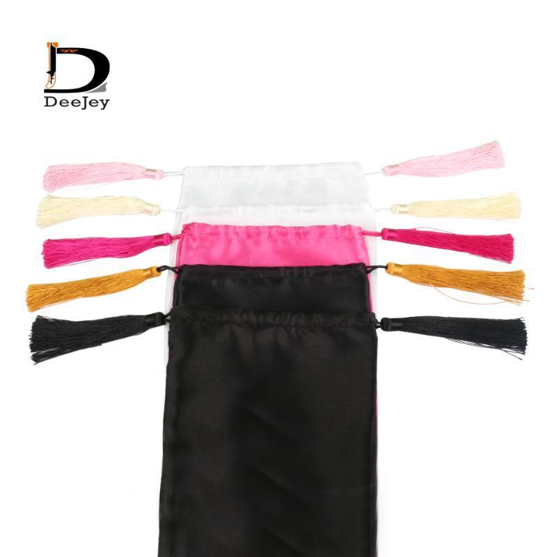 18x30cm Blank weiß rosa schwarz reine Haarverlängerung Verpackung Satin Seidenbeutel mit Luxus-Quasten Geschenk Haarbündel Koffer packen