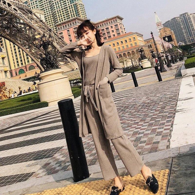 2018 Nouveau Femmes Cardigan manches longues Knit Pantalon large jambe costume trois pièces riyr #