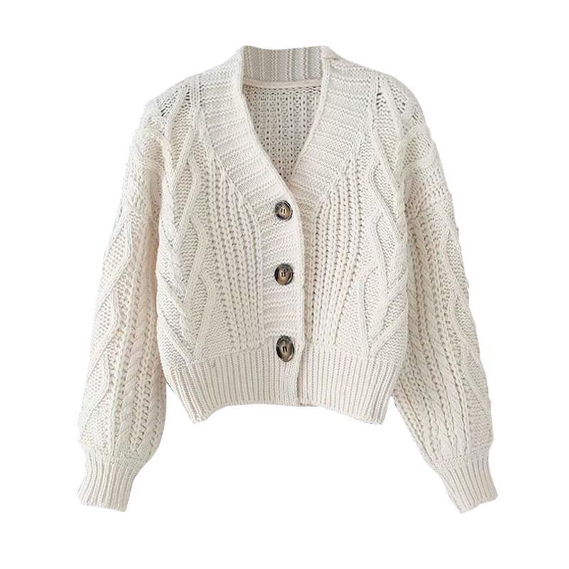 del otoño y del invierno de las mujeres chaqueta de punto chaqueta corta Tops elegante estudiantes flojo sólido breasted de un solo color suéter GD149 CX200801
