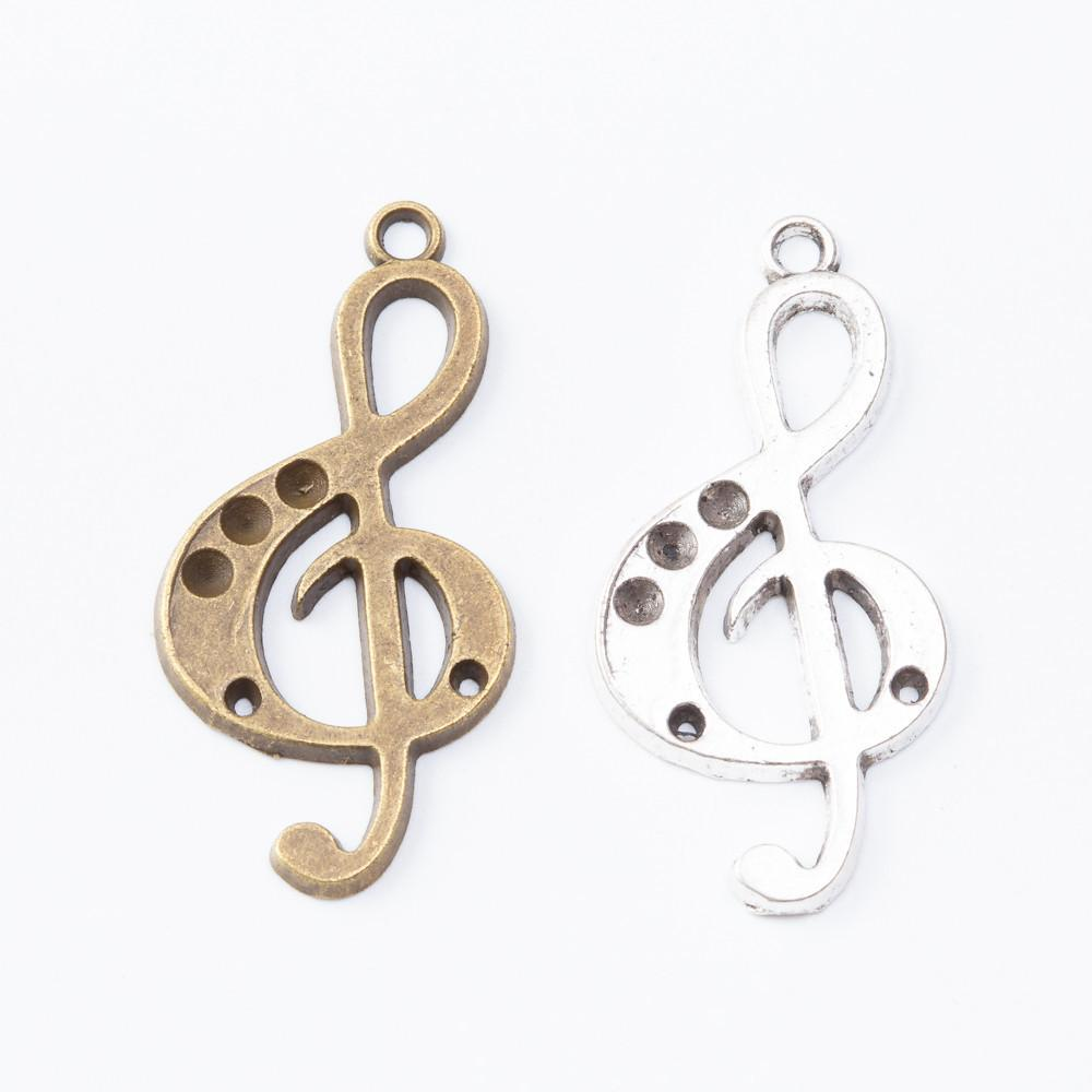 50pc 36*18MM Vintage Silver color bronze musical note music notation charms pendant for bracelet earring necklace diy jewelry