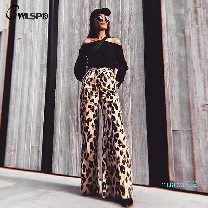 Fashion-CWLSP 2018 Fashion Leopard Women Wide Leg Pants High Waist Trousers Long Pantalon Female Pants Autumn Cloth QA2750