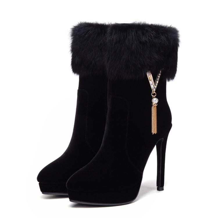small big boots size 33 to 43 with box black red fur booties 12cm platform high heels women winter luxury designer