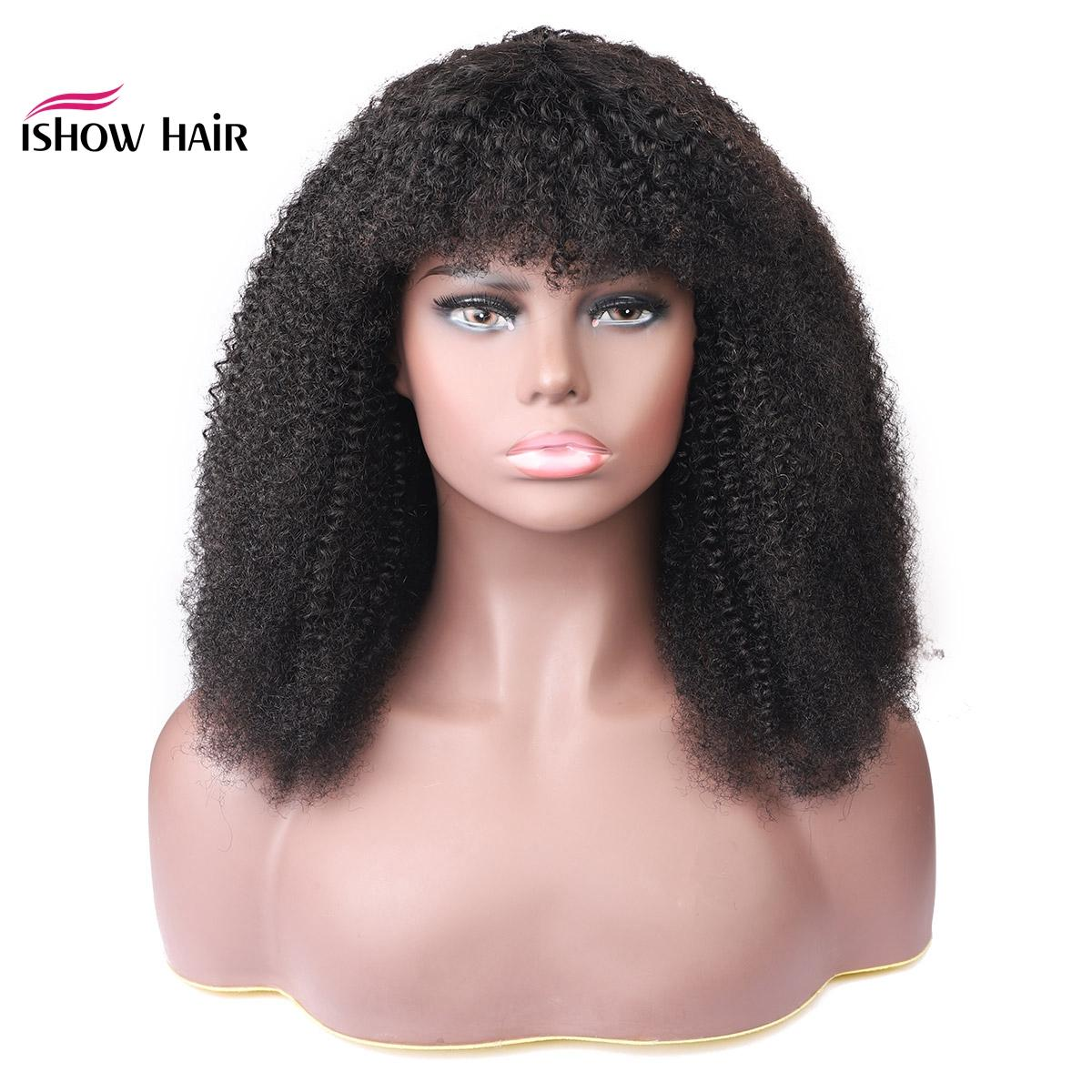 Ishow Body Straight afro Kinky Curly Wig Peruvian Loose Deep Human Hair Wigs With Bangs Water Human Hair None Lace Wigs