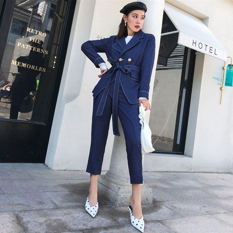 2020 Sonbahar Kadın Moda Suits Biçimsel Blazer Ceketler Ve Tam Pantolon İki adet Kadınlar Suits Mavi İnce Sashes Twinsets Set