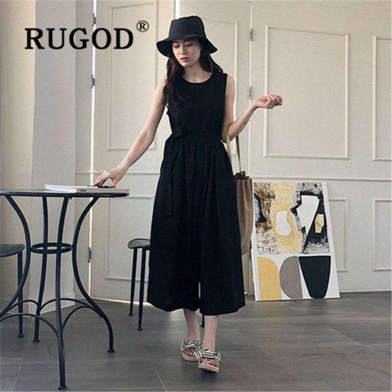 RUGOD 2019 new fashion Sleeveless cotton wide leg rompers womens jumpsuit waist slim O neck combinaison pantalon femme ZFoj#