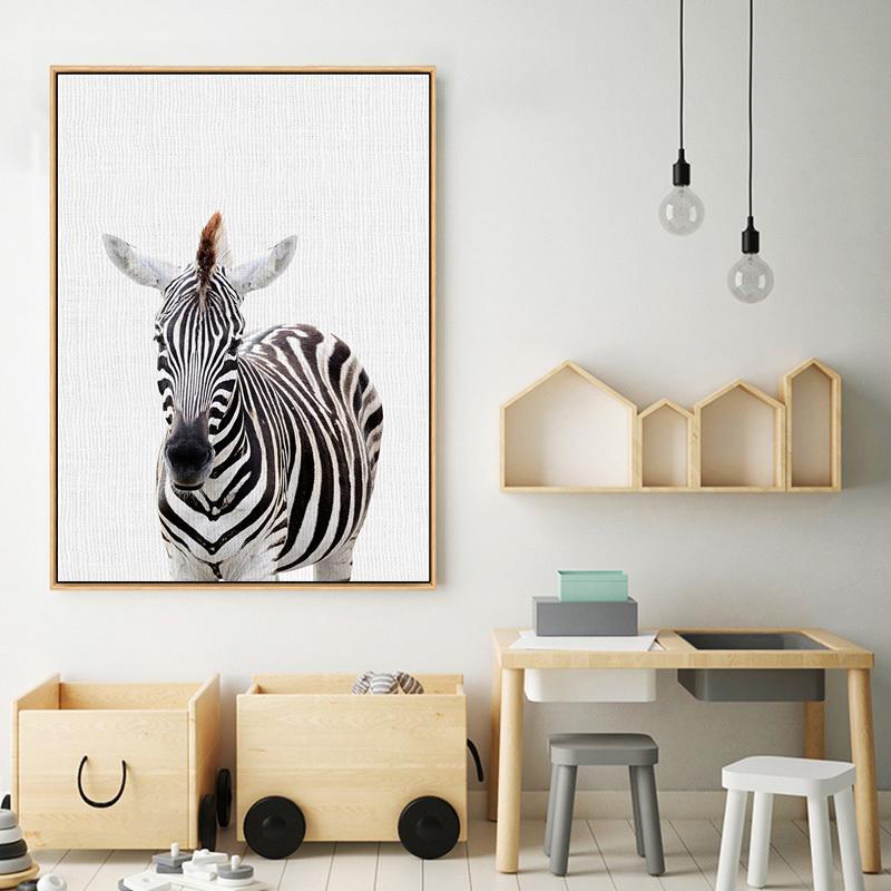 Kreş Resim Kreş Dekoratif Kid Odası Dekor Boyama Lama Zebra Tavşan Hayvan Posterler ve Baskılar Wall Art Kanvas
